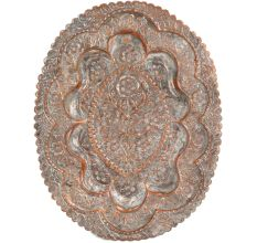 Vintage Copper Oval Tray Scalloped Edge And Carved floral Foliage Pattern