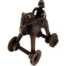 Handmade Brass Rider On Horse Hindu Temple Toy On Wheels