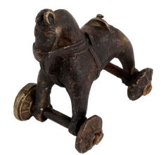 Detailed Figurine Of Brass Toy Horse on Wheel Pull Toy