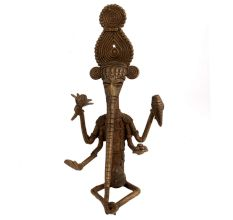 Brass Tribal Lord Ganesha Statue Elongated Trunk
