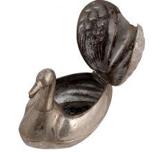 Brass Duck Figurine Multi Purpose Storage Box With Silver Finish