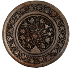 Copper Chiseled with Floral Leafy Designs Wall Hanging plate
