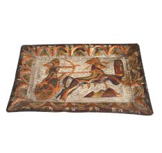 Hand Painted Egyptian Brass Decoration Tray Animal Hunting Scene