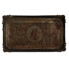 Brass Rectangular Tray  Hand Painted Pharaoh And Chario Pictures