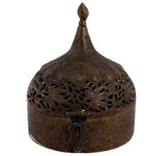 Vintage Brass Leaf Jali Cut Dome Lid Finial