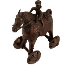 Brass Temple Statue Of Rider On Horse With Wheels