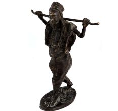 Brass African Farmer Statue standing with stick
