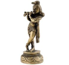 Young Brass Lord Krishna Playing Flute Statue