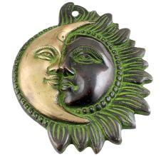 Brass Designer Sun Moon Wall  Art With Patina