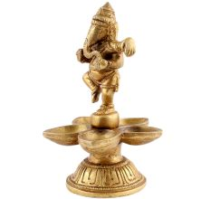 Brass Dancing Ganesha Five Wicks Oil Lamps Or Diyas