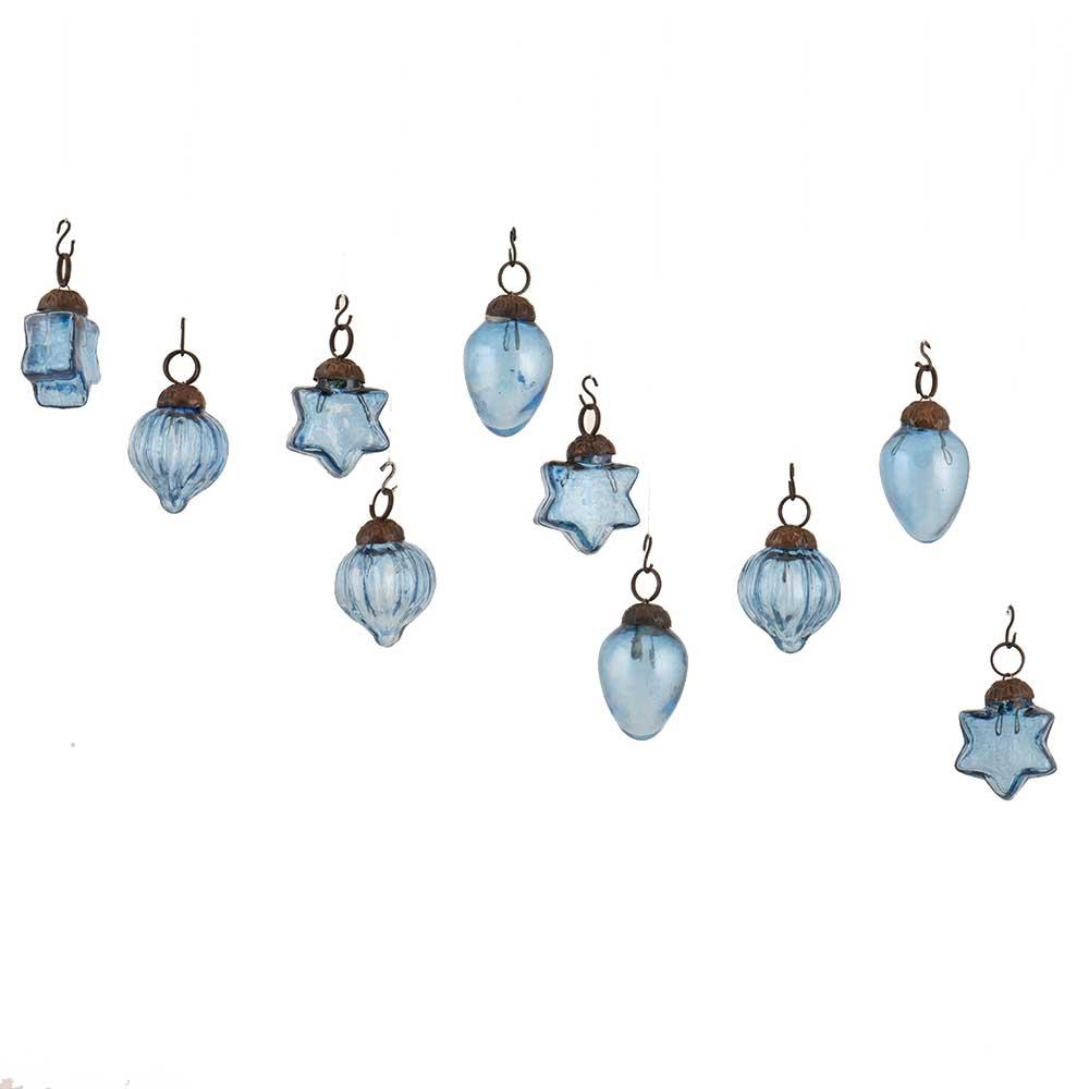 Slate Blue  Combo Glass Tiny Christmas Hanging Set of 10