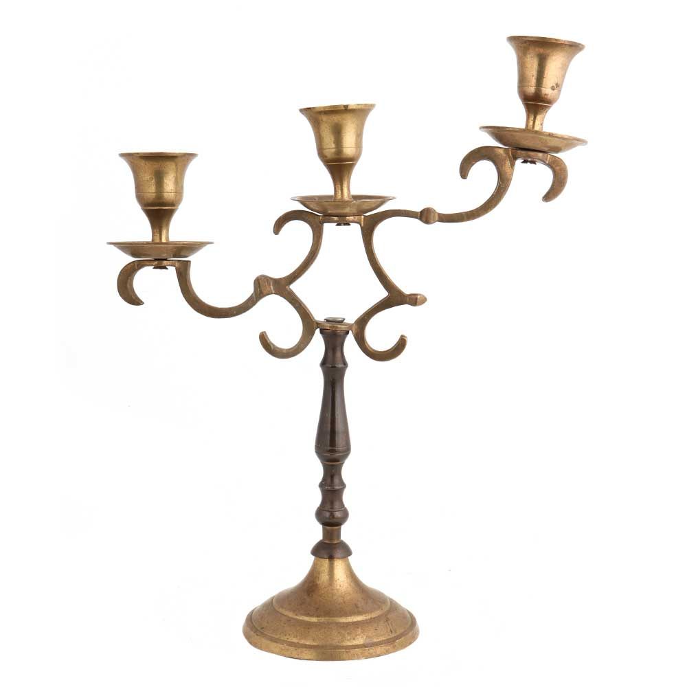 Brass Branch Design Candlestick 3 Candle Holders