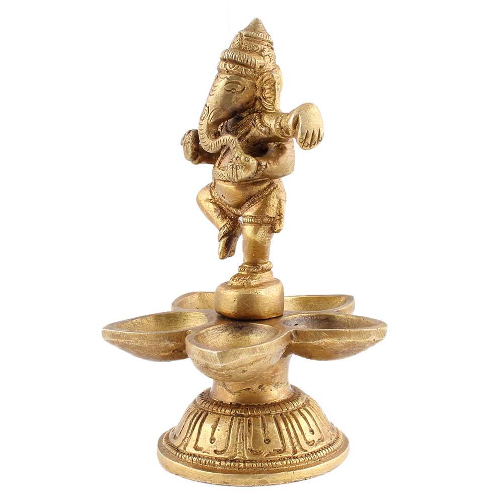 Brass Dancing Ganesha Five Wicks Oil Lamps Or Diyas