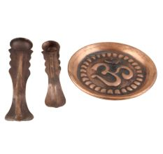 Two Panchpatram Spoon And Om Engraved Plate Thali Set