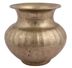 Hindu Bulbous Brass Holy Water Pot