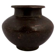 Brass Worship Pot With Carved Floral Design