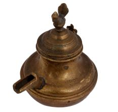 Brass Unusual Oil Or Water Pot With Peacock On lid