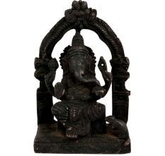 Black Brass Sitting Ganesha Statue With Prabhavali