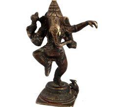 Brass Dancing Ganesha With Mooshak