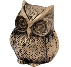 Brass Small Sitting Owl Statue Paperweight