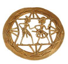Brass Dhokra Tribal Dancing Couple Wall Art