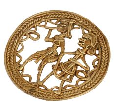 Brass Tribal Couple Round Wall Art With Tribal Design