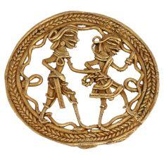 Brass Dhokra Wall Art Tribal Couple Romantic Mood With Decorative Border