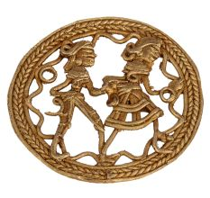 Brass Dhokra Wall Art Hanging Farmer Couple Daily Activity