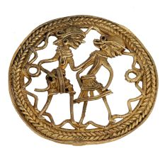 Brass Dhokra Dancing Couple With Round Decorative Border