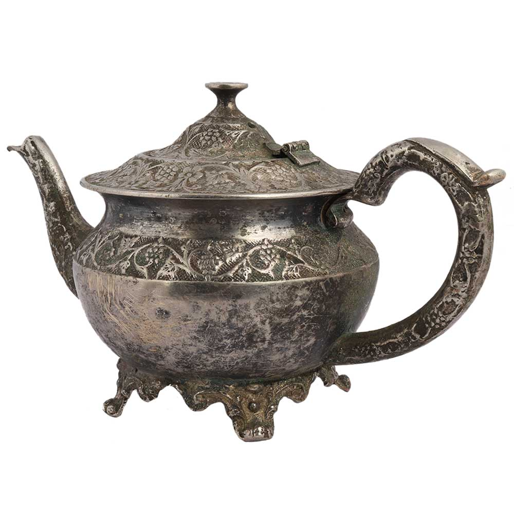 Ornate Brass Short Tea Or Coffee Pot With Stout In Silver polish