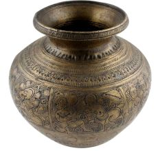 Brass Lota Pot Hand With Engraved With God Images And  Floral Motifs