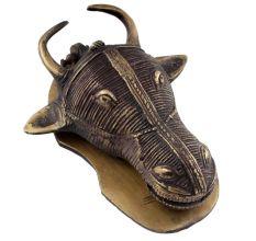 Black Brass Ox Bull Head Door Knocker On a Base Plate