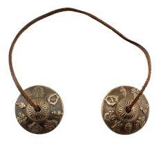 Brass Clash Cymbals or Manjeere Carved Tibetan Design