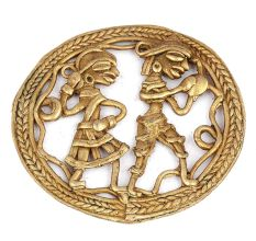Brass Dhokra Wall Art Hanging of a Tribal Couple