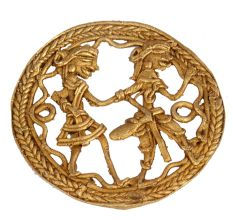 Round Brass Dhokra Art Tribal Folk Dancers