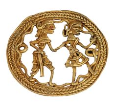 Round Border Brass Wall Art Of  Village Couple Daily Activity