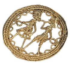 Round Brass Dhokra Wall Art Hanging Depicting Tribal Farmer Couple