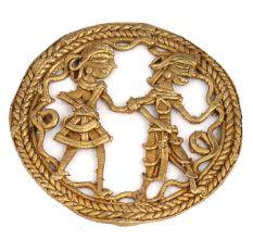 Brass Round Wall Art�Tribal Couple Figure