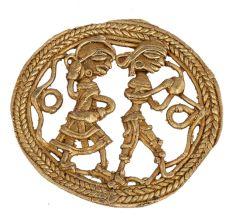 Brass Rustic Dhokra Wall Art  Man Playing Flute Woman Dancing