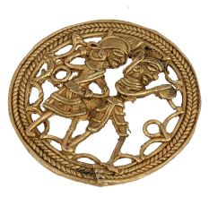 Brass Wall Art Tribal Couple Daily Activity�In Round Frame