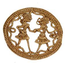 Brass Rural Dancing Couple Round Wall Art
