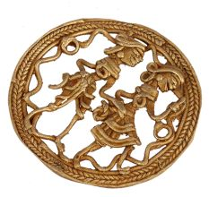 Round Brass Wall Art Tribal Couple In Traditional Outfit