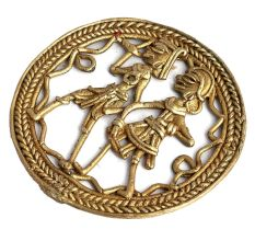 Brass Tribal Arts Wall Decor Depicting Daily Village Life