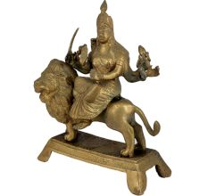 Brass Maa Durga On Lion Home Worship Statue