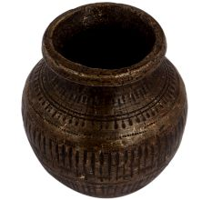 Brass Water Pot Hand Hammered Wide Mouth Lota