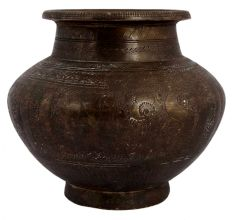 Hand Carved Floral Design Brass Holy Water