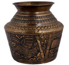 Brass kalash Holy water pot With Engraved Bird Image