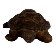 Old Brass Engraved Tortoise Figurine With Shell