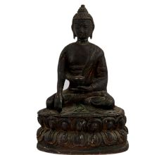 Brass Meditating Buddha Sitting On Lotus Base In Black Finish