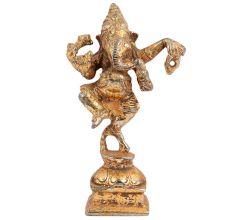 Brass Dancing Ganesha Statue In Golden Finish